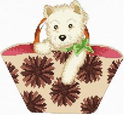 Белоснежка | Щенок в сумке. Размер - 17 х 18,5 см.