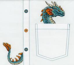 """ТМ Жар-птица Набор для вышивания на одежде """"Благородный дракон"""". Размер - 7 х 8 см."""