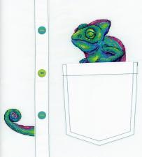 "ТМ Жар-птица Набор для вышивания на одежде ""Любопытный хамелеон"". Размер - 7 х 8 см."