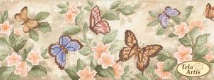 "Лента под вышивку бисером ""Бабочки"". Размер - 10 х 58 см 2 шт"
