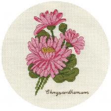Панна | Букетик хризантем. Размер - 13 х 17 см