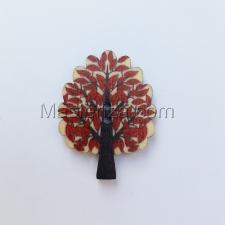 """Деревянная пуговица """"Дерево с красными листьями"""". Размер - 2,5 х 3,2 см"""