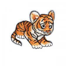 """Термоаппликация """"Тигрёнок"""",6х5 см,цв.оранжевый/чёрный"""