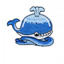 """Термоаппликация """"Кит"""",4,5х5 см,цв.белый/голубой"""