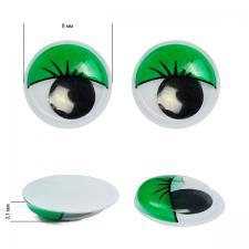 Глазки бегающие клеевые с ресницами TBY 8мм цв.зелёный уп.2 шт