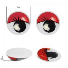 Глазки бегающие клеевые с ресницами TBY 8мм цв.красный уп.2 шт