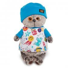 Кот Басик в футболке космос и в шапочке, мягкая игрушка BudiBasa. Размер - 22 см
