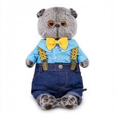 Кот Басик в джинсах с подтяжками, мягкая игрушка BudiBasa. Размер - 22 см