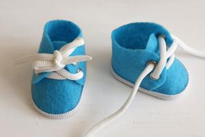 Ботиночки ручная работа,фетр,цвет голубой,5 см