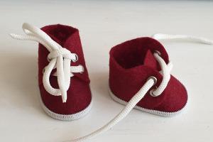Ботиночки ручная работа,фетр,цвет бордовый,5 см
