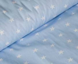 Ткань хлопок Звёздочки, 120г/м², 100% хлопок, шир.150см, цв.03 голубой уп.3м