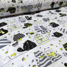 Ткань хлопок Коты в шляпах, 125г/м², 100% хлопок, шир.150см, цв.01 белый уп.1.6м