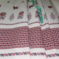 Ткань лён Старославянский, 140г/м², 30% лён + 70% хлопок, шир.150см, цв.бело-красный
