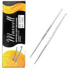 Крючок для вязания Maxwell №2/0-4/0 двусторонний 2,1 мм- 2,5 мм цв.никель