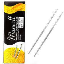 Крючок для вязания Maxwell №3/0-4/0 двусторонний 2,3 мм- 2,5 мм цв.никель