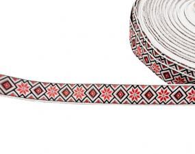 Лента отделочная жаккардовая арт.с1851г17 рис.9303 шир. 18мм цв. белый
