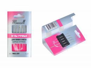 Maxwell Иглы для кожи и меха (шорные №8,10 и ручные №12) уп.5 игл