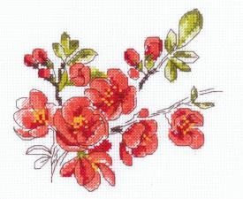 Риолис | Веточка цидонии. Размер - 13 х 16 см