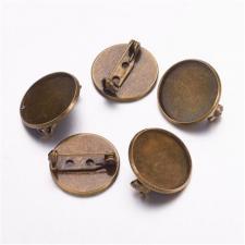 Заготовка для броши булавка с сеттингом (площадкой), 25 мм, цвет медь, 1 шт