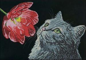 Астрея | Схема Кошка и мак. Размер - 40 х 28 см