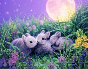 Картины бисером | Схема Крольчата. Размер - 36 х 28 см