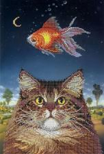 Картины бисером | Схема Кошачьи мечты. Размер - 26 х 38 см