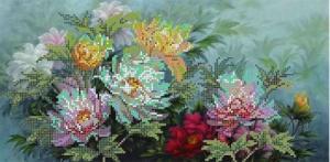 Картины бисером | Схема Пионы. Размер - 39 х 19 см