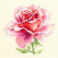 Чудесная игла | Розовая роза. Размер - 11 х 11 см