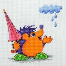 Машенька | Кажется,дождь начинается (по рисунку Л.Бартенева). Размер - 15 х 15 см