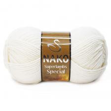 NAKO Superlambs Special (49% шерсть,51% премиум акрил),100 г/200 м,цв.208 белый