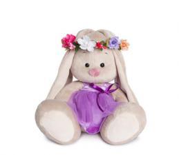 Зайка Ми в веночке и фиолетовом платье. Размер - 18 см.
