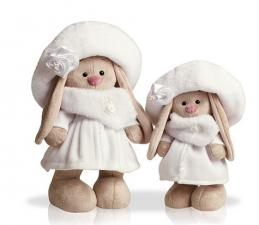 Зайка Ми в белом пальто, мягкая игрушка BudiBasa. Размер - 25 см.