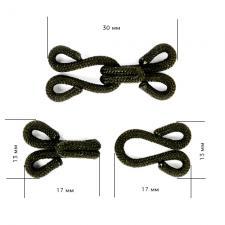 Крючок пришивной в оплетке, шубный 29мм TBY-HWT.1.8 цв. чёрный