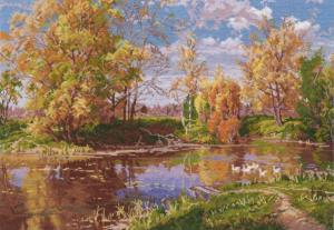 Овен | Осенний пруд. Размер - 37 х 26 см