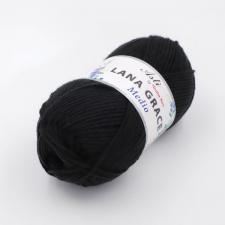 Троицкая пряжа | LANA GRACE MEDIO (25% мериносовая шерсть 75% акрил супер софт) 100г/170м цв.0140 чёрный