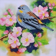 Тэла Артис | Птичка на ветке абрикоса. Размер - 19 х 19 см