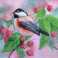 Тэла Артис | Птичка в малине. Размер - 19 х 19 см