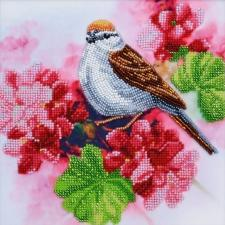 Тэла Артис | Птичка на кусте герани. Размер - 19 х 19 см