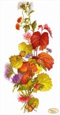 Тэла Артис | Лещина и хризантемы. Размер - 24 х 45 см