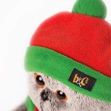 """Одежда для кота Басика в подарочной упаковке """"Оранжево-зелёная шапка и шарфик"""""""