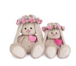 Зайка Ми в веночке и с сердечком, мягкая игрушка BudiBasa,размер 18 см