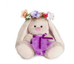 Зайка Ми в веночке и фиолетовом платье. Размер - 15 см.