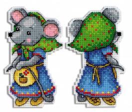 "ТМ Жар-птица | Набор для вышивания на пластиковой канве ""Мышка-норушка"". Размер - 6 х 10 см."