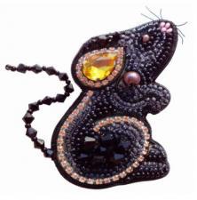А-строчка | Набор для вышивания броши (подвеса) Мышка №3. Размер - 5 х 7 см