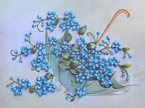 Шёлковый сад | Зонтик с незабудками. Размер - 21 х 15 см