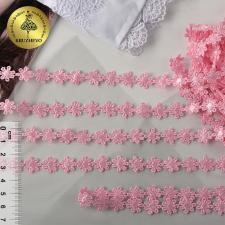 Кружево гипюр ромашка арт.TR.12244A шир.13мм цв.07 розовый