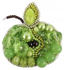 """Набор для изготовления броши Crystal Art """"Зелёное яблоко"""". Размер - 5,5 х 5 см"""
