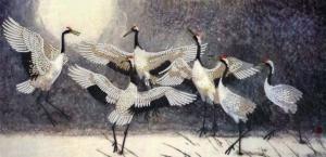 Картины бисером | Схема Танец журавлей. Размер - 46 х 22 см