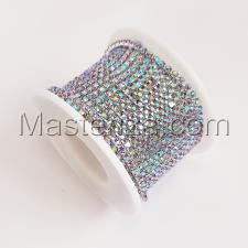 Стразовая цепь SS8 (2,3-2,5 мм).Цвет №5 crystal AB.Оправа серебро,1 м