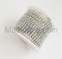 Стразовая цепь SS8 (2,3-2,5 мм).Цвет №6 crystal A.Оправа серебро,1 м